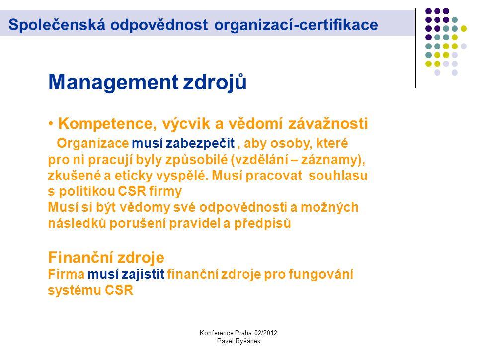 Konference Praha 02/2012 Pavel Ryšánek Společenská odpovědnost organizací-certifikace Management zdrojů Kompetence, výcvik a vědomí závažnosti Organizace musí zabezpečit, aby osoby, které pro ni pracují byly způsobilé (vzdělání – záznamy), zkušené a eticky vyspělé.