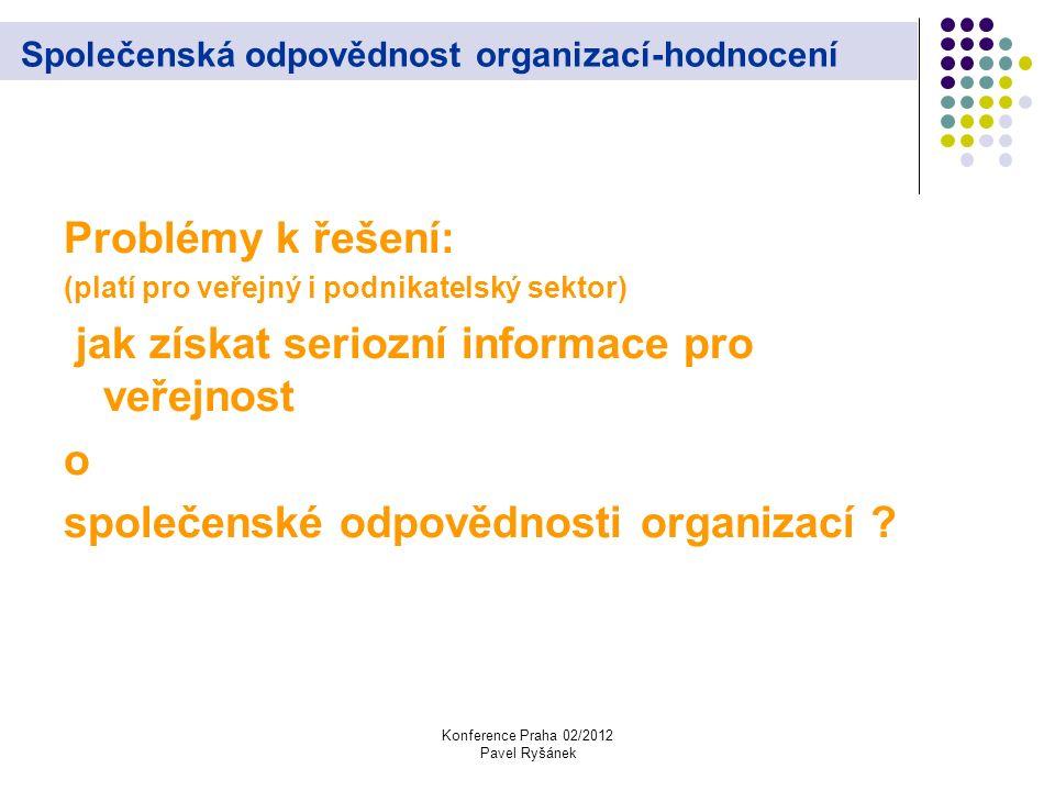 Konference Praha 02/2012 Pavel Ryšánek Společenská odpovědnost organizací-hodnocení Problémy k řešení: (platí pro veřejný i podnikatelský sektor) jak získat seriozní informace pro veřejnost o společenské odpovědnosti organizací ?