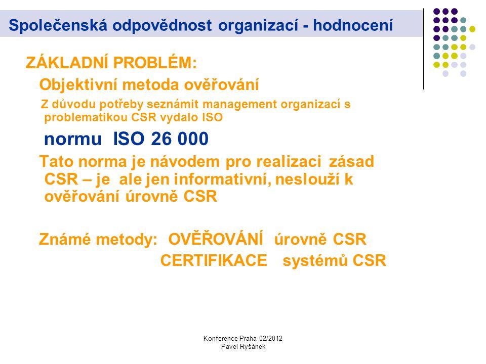 Konference Praha 02/2012 Pavel Ryšánek Společenská odpovědnost organizací - hodnocení ZÁKLADNÍ PROBLÉM: Objektivní metoda ověřování Z důvodu potřeby seznámit management organizací s problematikou CSR vydalo ISO normu ISO 26 000 Tato norma je návodem pro realizaci zásad CSR – je ale jen informativní, neslouží k ověřování úrovně CSR Známé metody: OVĚŘOVÁNÍ úrovně CSR CERTIFIKACE systémů CSR