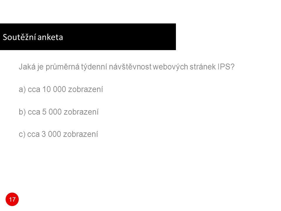 17 Soutěžní anketa Jaká je průměrná týdenní návštěvnost webových stránek IPS.