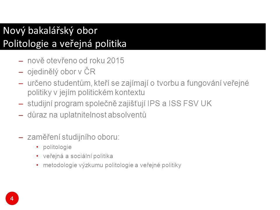 4 Nový bakalářský obor Politologie a veřejná politika –nově otevřeno od roku 2015 –ojedinělý obor v ČR –určeno studentům, kteří se zajímají o tvorbu a fungování veřejné politiky v jejím politickém kontextu –studijní program společně zajišťují IPS a ISS FSV UK –důraz na uplatnitelnost absolventů –zaměření studijního oboru: politologie veřejná a sociální politika metodologie výzkumu politologie a veřejné politiky