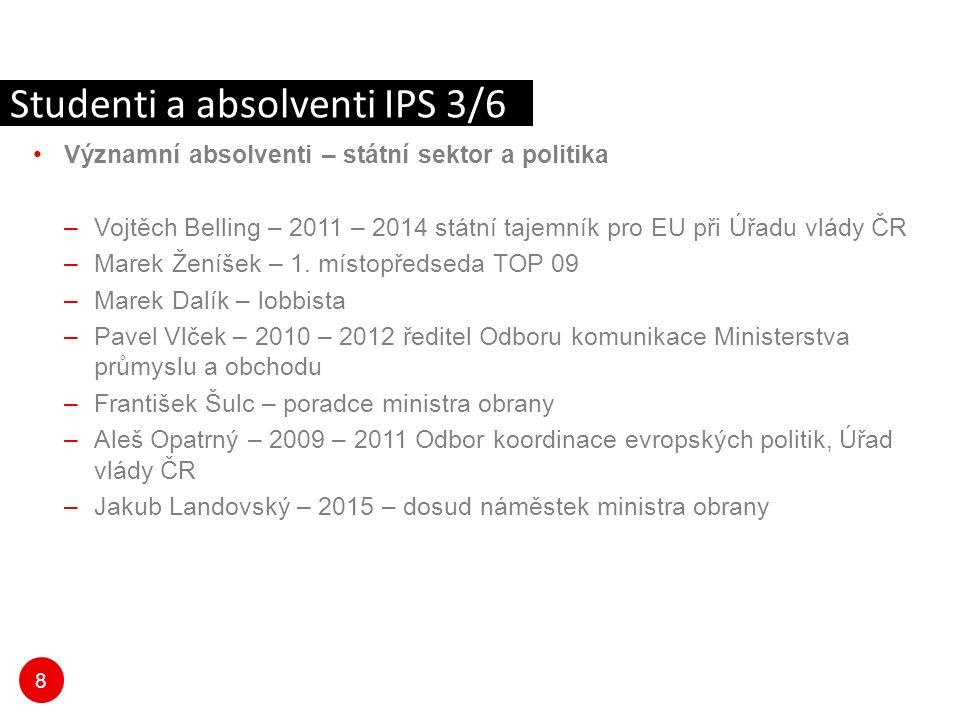 8 Významní absolventi – státní sektor a politika –Vojtěch Belling – 2011 – 2014 státní tajemník pro EU při Úřadu vlády ČR –Marek Ženíšek – 1.