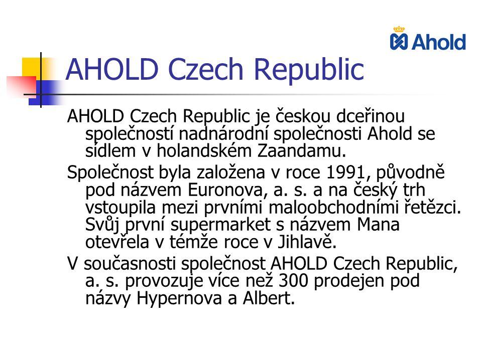 AHOLD Czech Republic AHOLD Czech Republic je českou dceřinou společností nadnárodní společnosti Ahold se sídlem v holandském Zaandamu. Společnost byla