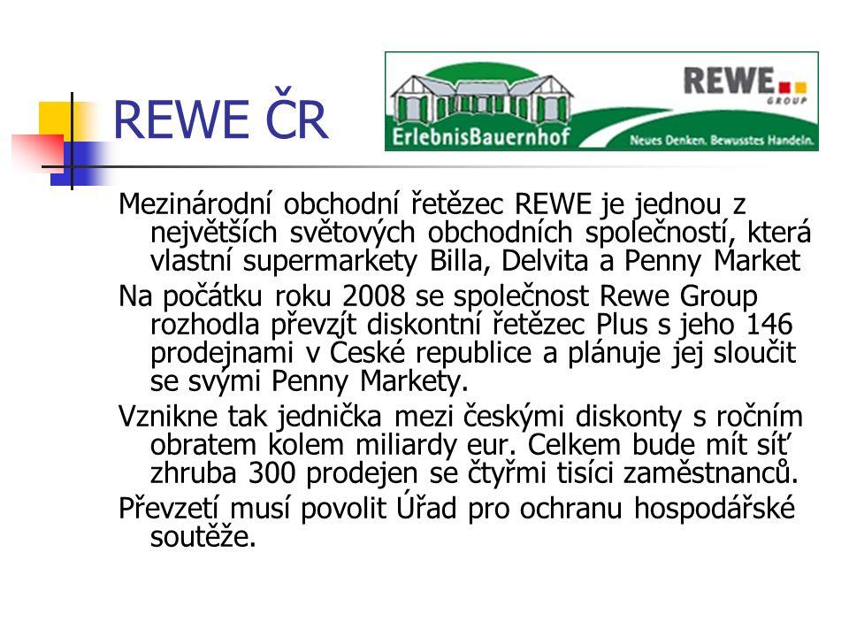REWE ČR Mezinárodní obchodní řetězec REWE je jednou z největších světových obchodních společností, která vlastní supermarkety Billa, Delvita a Penny Market Na počátku roku 2008 se společnost Rewe Group rozhodla převzít diskontní řetězec Plus s jeho 146 prodejnami v České republice a plánuje jej sloučit se svými Penny Markety.