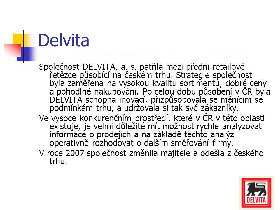 Delvita Společnost DELVITA, a. s. patřila mezi přední retailové řetězce působící na českém trhu. Strategie společnosti byla zaměřena na vysokou kvalit