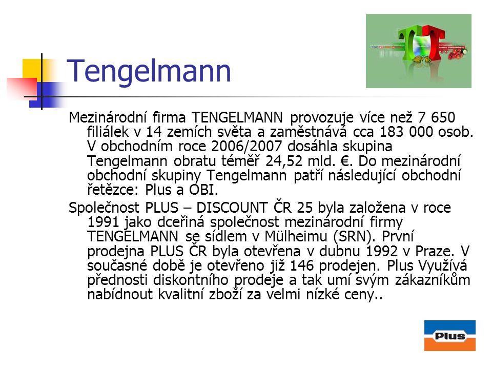 Tengelmann Mezinárodní firma TENGELMANN provozuje více než 7 650 filiálek v 14 zemích světa a zaměstnává cca 183 000 osob. V obchodním roce 2006/2007