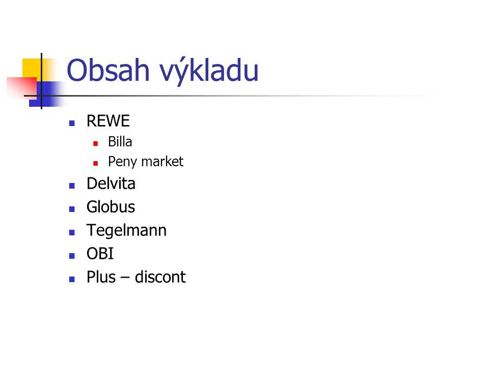 Obsah výkladu REWE Billa Peny market Delvita Globus Tegelmann OBI Plus – discont