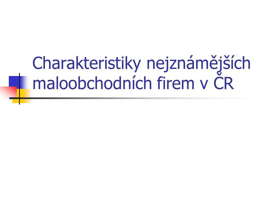 Charakteristiky nejznámějších maloobchodních firem v ČR
