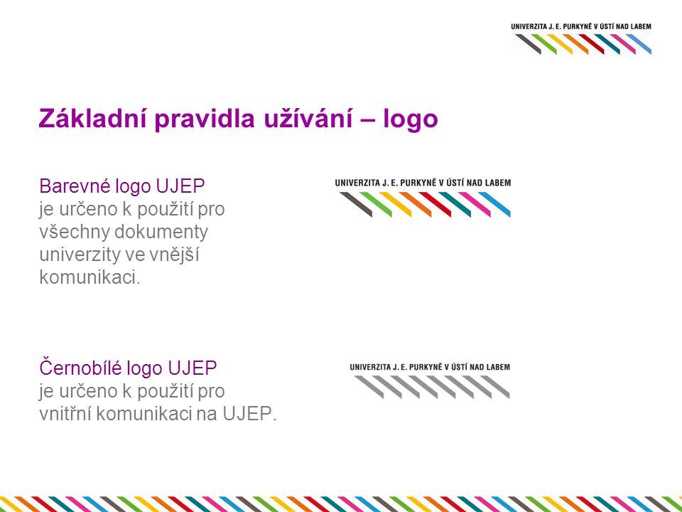 Základní pravidla užívání – logo Barevné logo UJEP je určeno k použití pro všechny dokumenty univerzity ve vnější komunikaci.