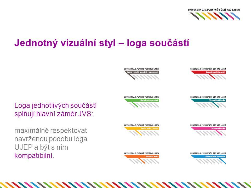 Jednotný vizuální styl – loga součástí Loga jednotlivých součástí splňují hlavní záměr JVS: maximálně respektovat navrženou podobu loga UJEP a být s ním kompatibilní..
