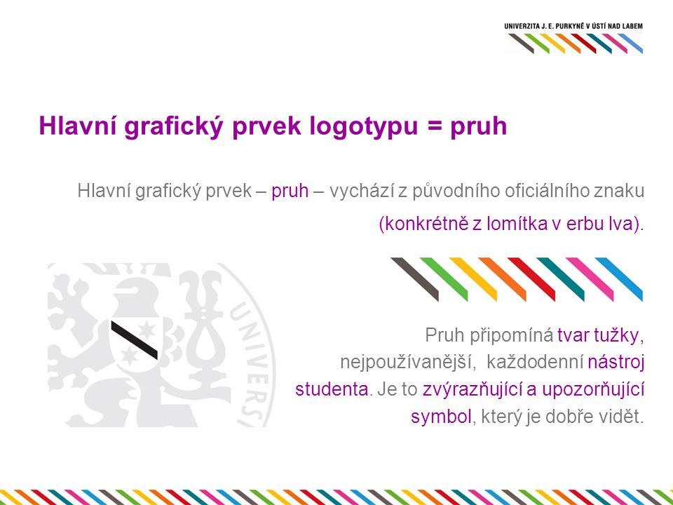 Hlavní grafický prvek logotypu = pruh Pruh je díky své jednoduchosti a hravosti snadno aplikovatelný na veškeré univerzitní materiály.
