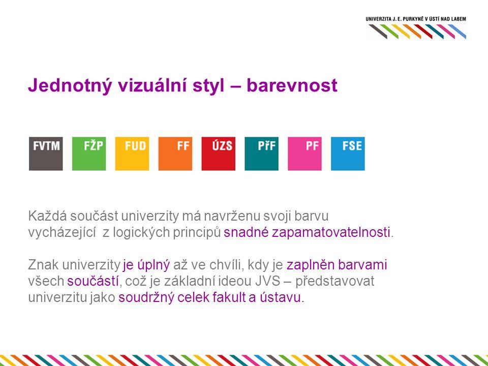 Jednotný vizuální styl – barevnost Každá součást univerzity má navrženu svoji barvu vycházející z logických principů snadné zapamatovatelnosti.