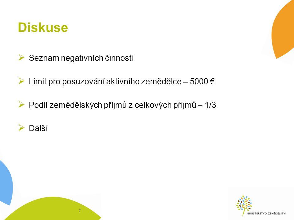 Diskuse  Seznam negativních činností  Limit pro posuzování aktivního zemědělce – 5000 €  Podíl zemědělských příjmů z celkových příjmů – 1/3  Další