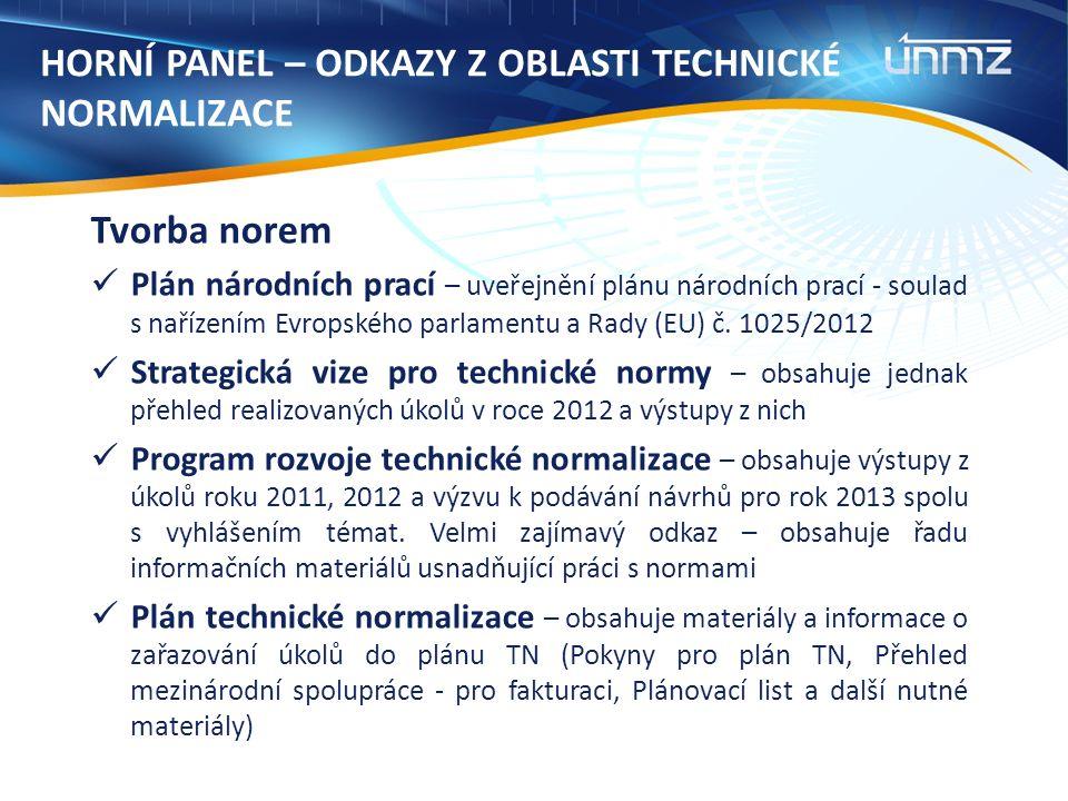 Tvorba norem Plán národních prací – uveřejnění plánu národních prací - soulad s nařízením Evropského parlamentu a Rady (EU) č. 1025/2012 Strategická v