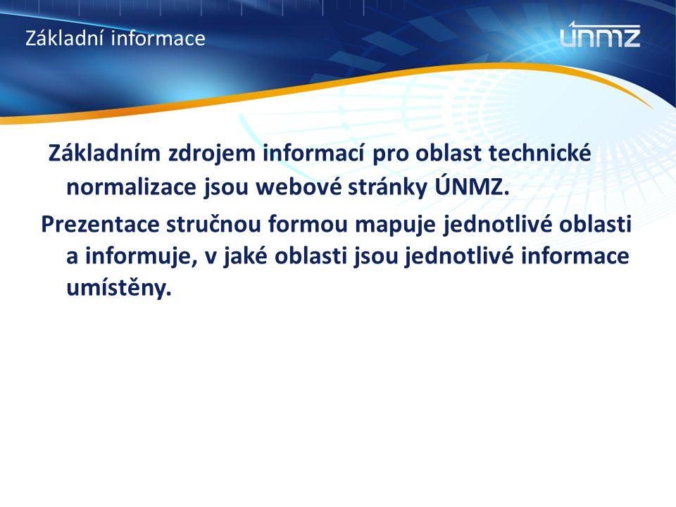 Základní informace Základním zdrojem informací pro oblast technické normalizace jsou webové stránky ÚNMZ. Prezentace stručnou formou mapuje jednotlivé