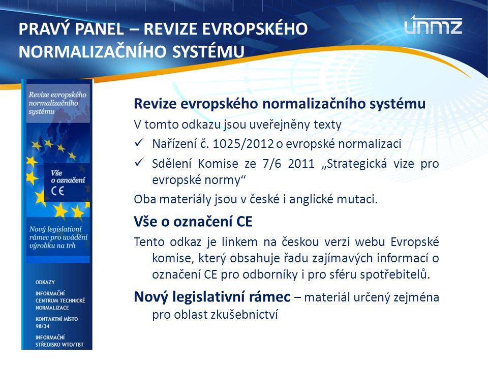 PRAVÝ PANEL – REVIZE EVROPSKÉHO NORMALIZAČNÍHO SYSTÉMU Revize evropského normalizačního systému V tomto odkazu jsou uveřejněny texty Nařízení č. 1025/