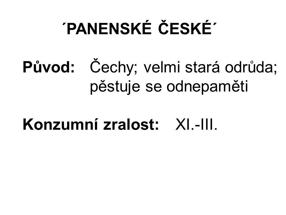 ´PANENSKÉ ČESKÉ´ Původ:Čechy; velmi stará odrůda; pěstuje se odnepaměti Konzumní zralost:XI.-III.