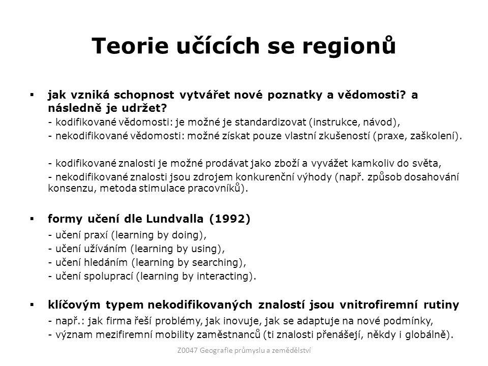 Teorie učících se regionů  důležité komponenty pro tvorbu znalostí (Amin, Thrift 1994) 1) soubor různých institucí (firmy, školy, vládní agentury,...), 2) vysoký stupeň interakcí mezi aktéry (můžou nastavit až pravidla a zvyky), 3) struktura dominance, 4) povědomí společné vzájemnosti.