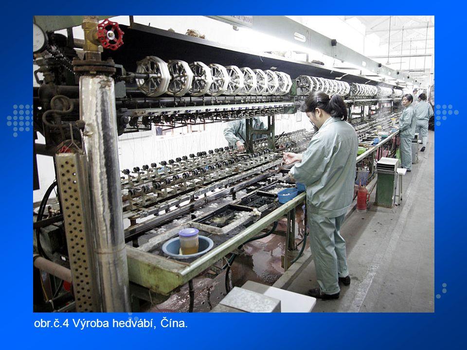 obr.č.4 Výroba hedvábí, Čína.