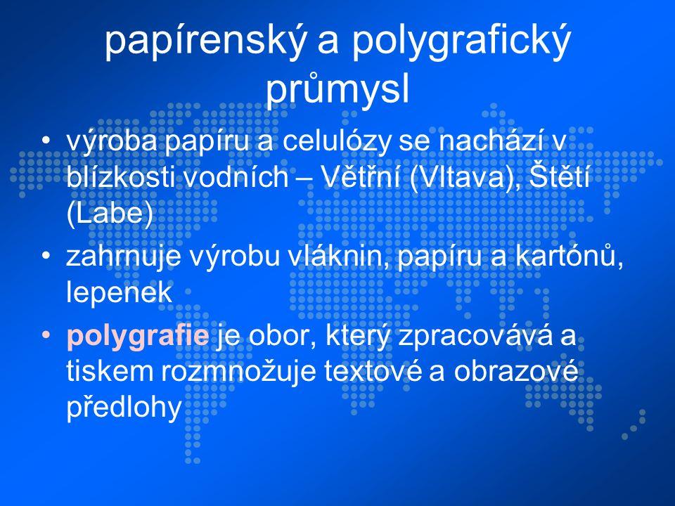 papírenský a polygrafický průmysl výroba papíru a celulózy se nachází v blízkosti vodních – Větřní (Vltava), Štětí (Labe) zahrnuje výrobu vláknin, papíru a kartónů, lepenek polygrafie je obor, který zpracovává a tiskem rozmnožuje textové a obrazové předlohy