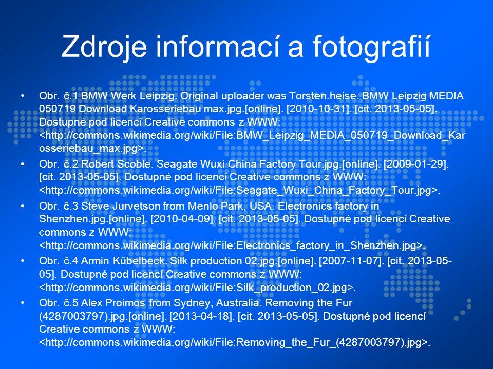 Zdroje informací a fotografií Obr. č.1 BMW Werk Leipzig.