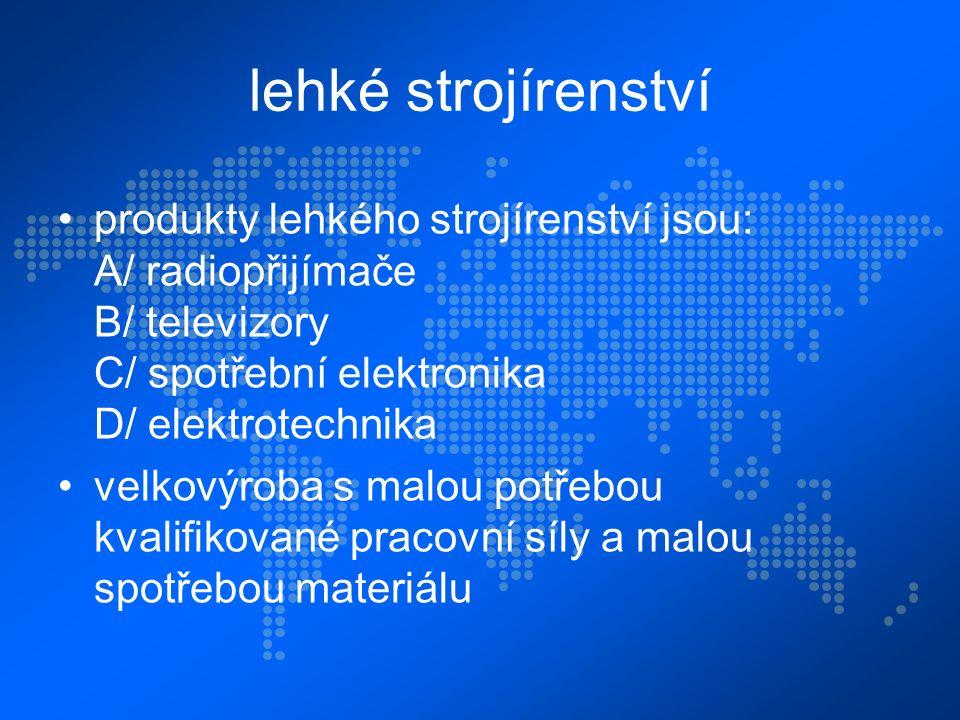 lehké strojírenství produkty lehkého strojírenství jsou: A/ radiopřijímače B/ televizory C/ spotřební elektronika D/ elektrotechnika velkovýroba s malou potřebou kvalifikované pracovní síly a malou spotřebou materiálu