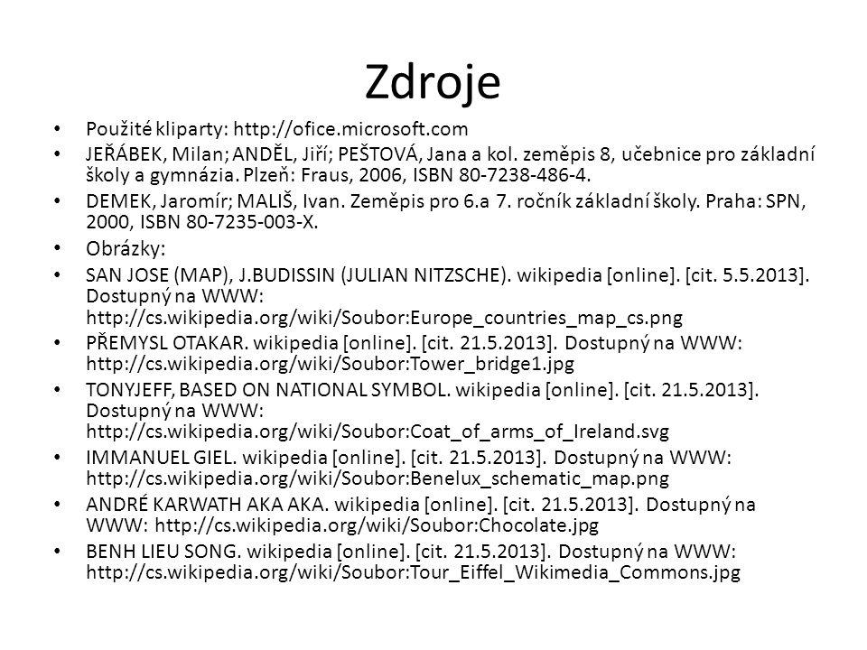 Zdroje Použité kliparty: http://ofice.microsoft.com JEŘÁBEK, Milan; ANDĚL, Jiří; PEŠTOVÁ, Jana a kol. zeměpis 8, učebnice pro základní školy a gymnázi