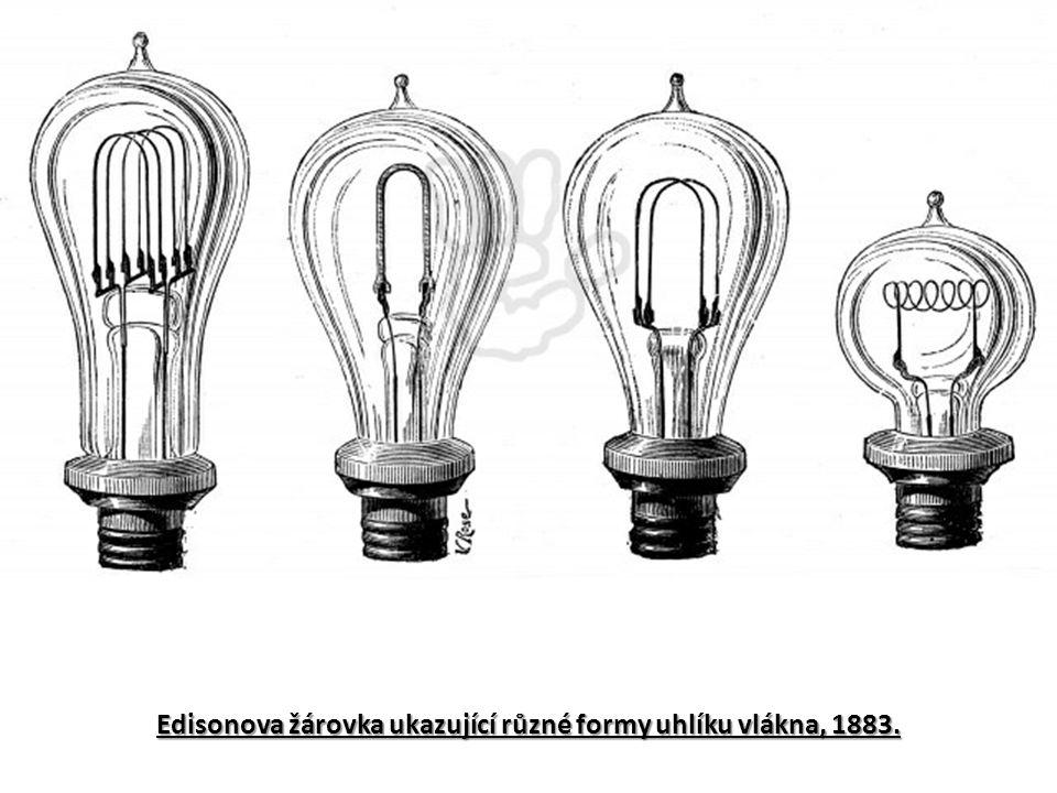 Edisonova žárovka ukazující různé formy uhlíku vlákna, 1883.