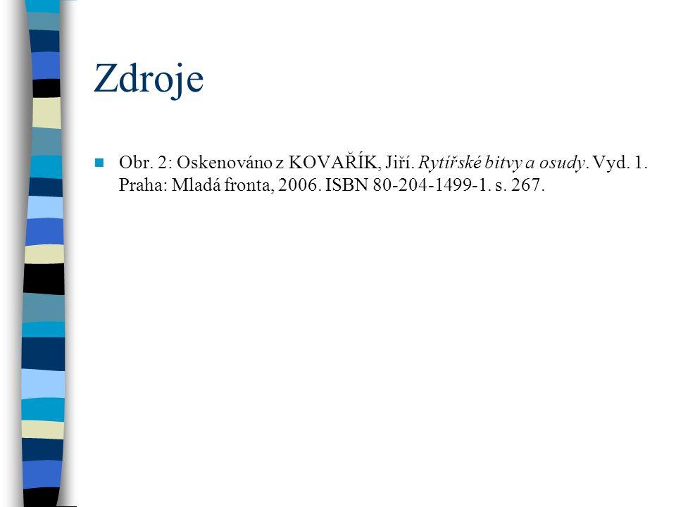 Zdroje Obr.2: Oskenováno z KOVAŘÍK, Jiří. Rytířské bitvy a osudy.