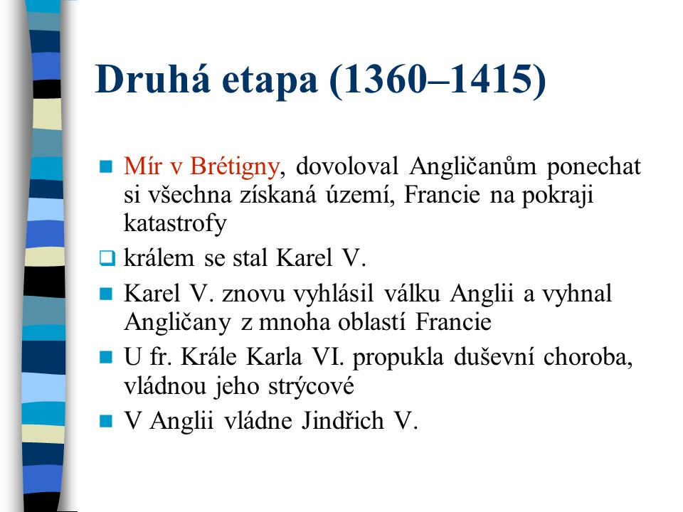 Druhá etapa (1360–1415) Mír v Brétigny, dovoloval Angličanům ponechat si všechna získaná území, Francie na pokraji katastrofy  králem se stal Karel V.