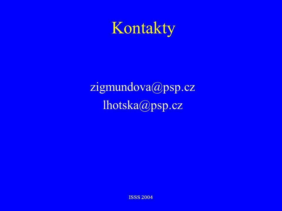 ISSS 2004 Kontakty zigmundova@psp.cz lhotska@psp.cz
