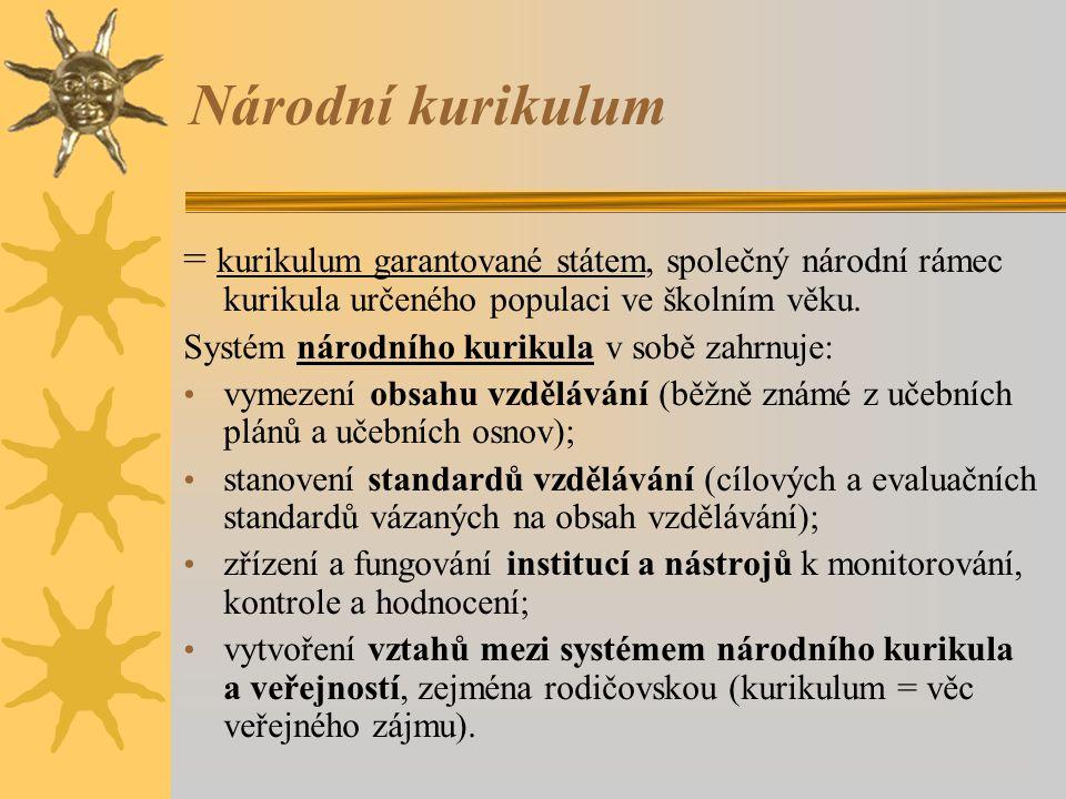 Národní kurikulum = kurikulum garantované státem, společný národní rámec kurikula určeného populaci ve školním věku. Systém národního kurikula v sobě
