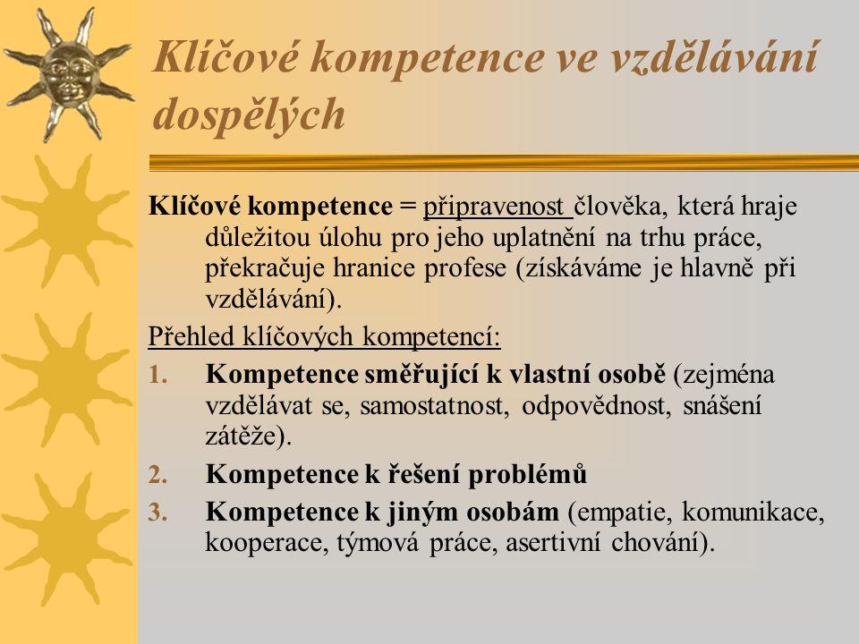 Klíčové kompetence ve vzdělávání dospělých Klíčové kompetence = připravenost člověka, která hraje důležitou úlohu pro jeho uplatnění na trhu práce, př