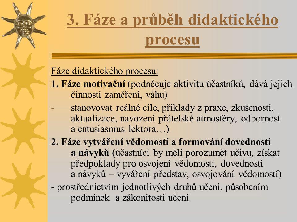 3. Fáze a průběh didaktického procesu Fáze didaktického procesu: 1. Fáze motivační (podněcuje aktivitu účastníků, dává jejich činnosti zaměření, váhu)