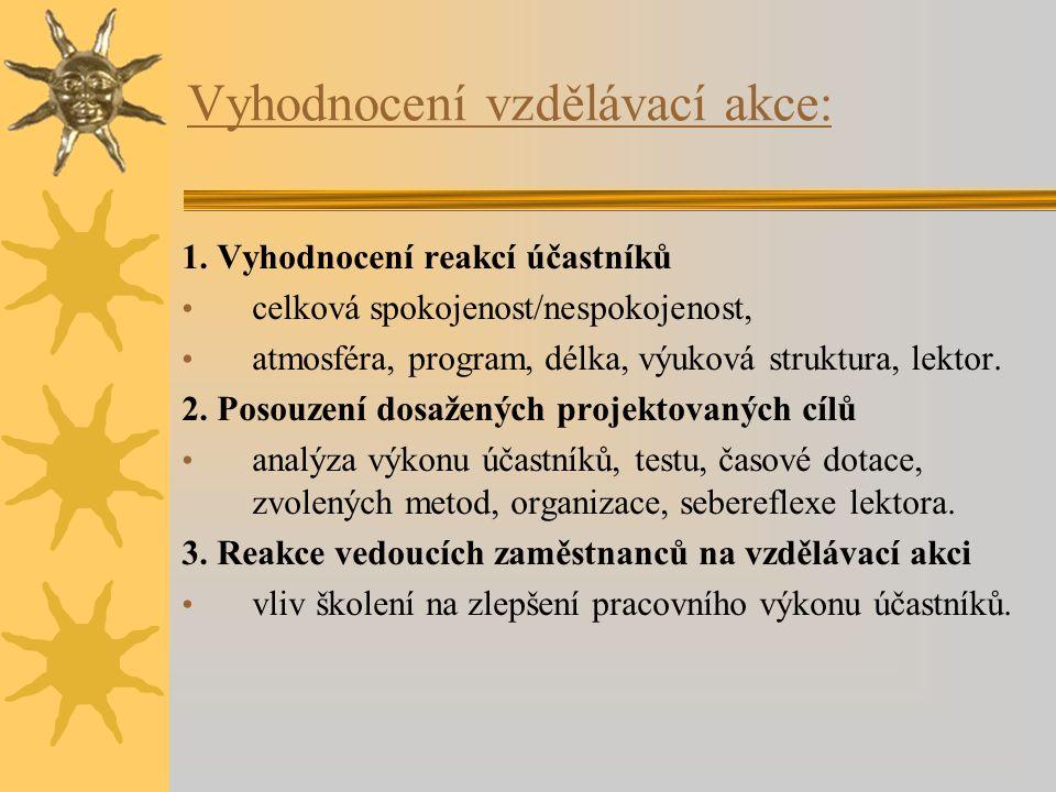 Vyhodnocení vzdělávací akce: 1. Vyhodnocení reakcí účastníků celková spokojenost/nespokojenost, atmosféra, program, délka, výuková struktura, lektor.