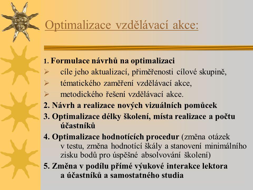 Optimalizace vzdělávací akce: 1. Formulace návrhů na optimalizaci  cíle jeho aktualizací, přiměřenosti cílové skupině,  tématického zaměření vzděláv