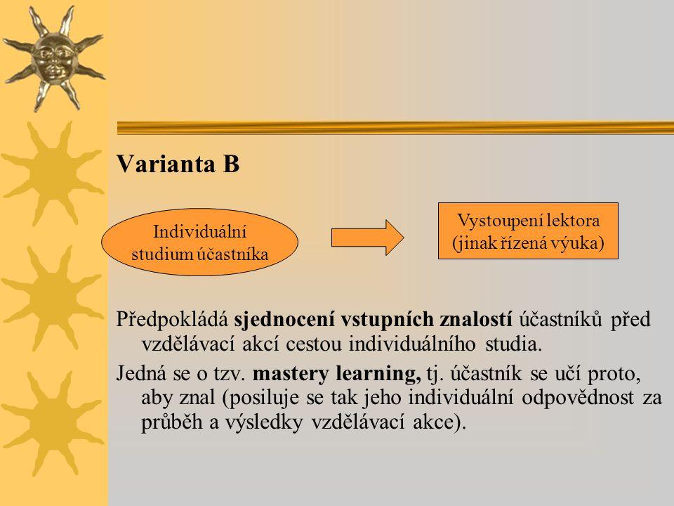 Varianta B Předpokládá sjednocení vstupních znalostí účastníků před vzdělávací akcí cestou individuálního studia. Jedná se o tzv. mastery learning, tj
