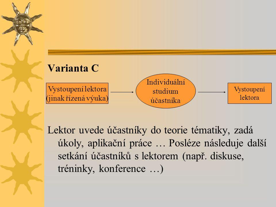 Varianta C Lektor uvede účastníky do teorie tématiky, zadá úkoly, aplikační práce … Posléze následuje další setkání účastníků s lektorem (např.