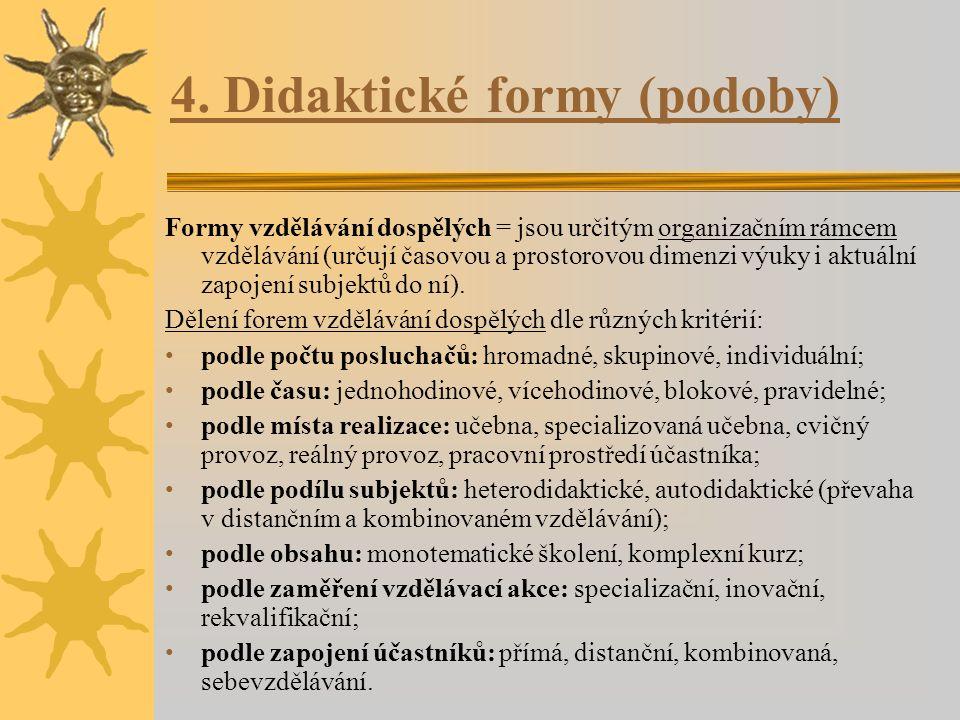 4. Didaktické formy (podoby) Formy vzdělávání dospělých = jsou určitým organizačním rámcem vzdělávání (určují časovou a prostorovou dimenzi výuky i ak