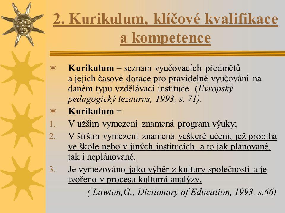 2. Kurikulum, klíčové kvalifikace a kompetence  Kurikulum = seznam vyučovacích předmětů a jejich časové dotace pro pravidelné vyučování na daném typu