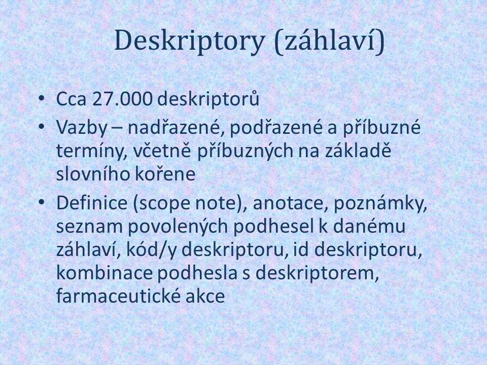 Deskriptory (záhlaví) Cca 27.000 deskriptorů Vazby – nadřazené, podřazené a příbuzné termíny, včetně příbuzných na základě slovního kořene Definice (scope note), anotace, poznámky, seznam povolených podhesel k danému záhlaví, kód/y deskriptoru, id deskriptoru, kombinace podhesla s deskriptorem, farmaceutické akce
