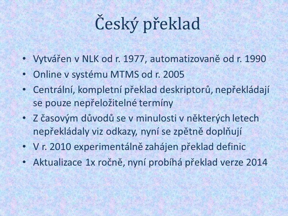 Český překlad Vytvářen v NLK od r. 1977, automatizovaně od r.