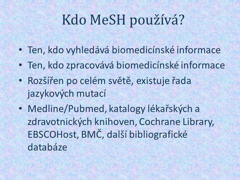 Tezaurus MeSH Základní jednotka = deskriptor Struktura Kvalifikátory Conplementary Supplement Records Pravidla použití