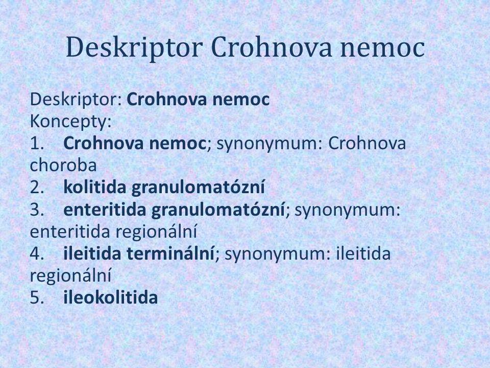 Deskriptor Crohnova nemoc Deskriptor: Crohnova nemoc Koncepty: 1.
