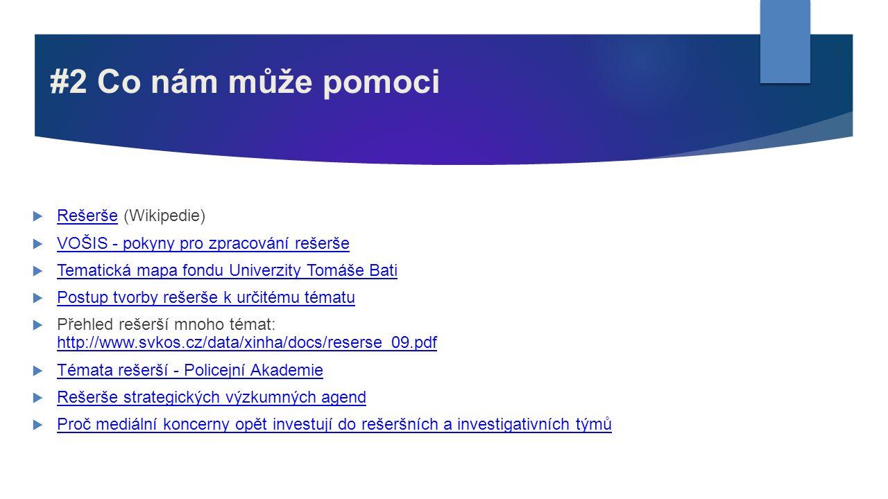 #2 Co nám může pomoci  Rešerše (Wikipedie) Rešerše  VOŠIS - pokyny pro zpracování rešerše VOŠIS - pokyny pro zpracování rešerše  Tematická mapa fon
