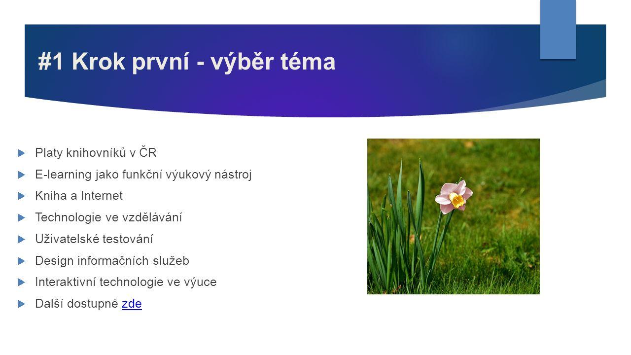 #1 Krok první - výběr téma  Platy knihovníků v ČR  E-learning jako funkční výukový nástroj  Kniha a Internet  Technologie ve vzdělávání  Uživatel