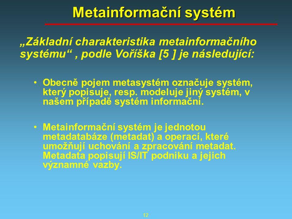 12 Metainformační systém Obecně pojem metasystém označuje systém, který popisuje, resp. modeluje jiný systém, v našem případě systém informační. Metai