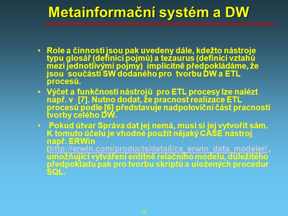 13 Metainformační systém a DW Role a činnosti jsou pak uvedeny dále, kdežto nástroje typu glosář (definici pojmů) a tezaurus (definici vztahů mezi jednotlivými pojmy) implicitně předpokládáme, že jsou součástí SW dodaného pro tvorbu DW a ETL procesů.