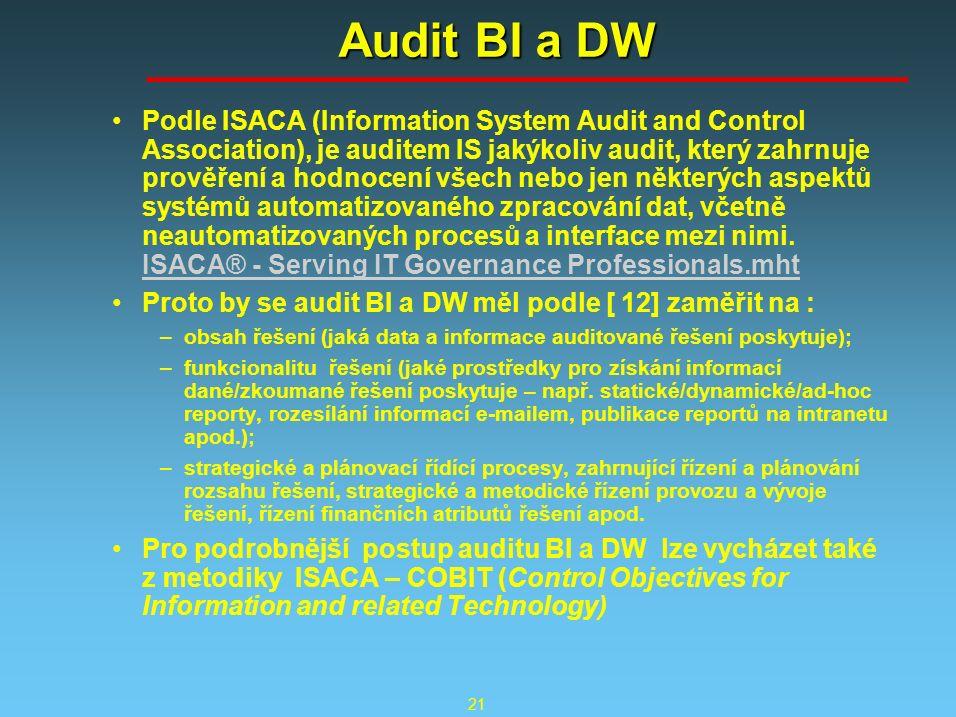 21 Audit BI a DW Podle ISACA (Information System Audit and Control Association), je auditem IS jakýkoliv audit, který zahrnuje prověření a hodnocení všech nebo jen některých aspektů systémů automatizovaného zpracování dat, včetně neautomatizovaných procesů a interface mezi nimi.