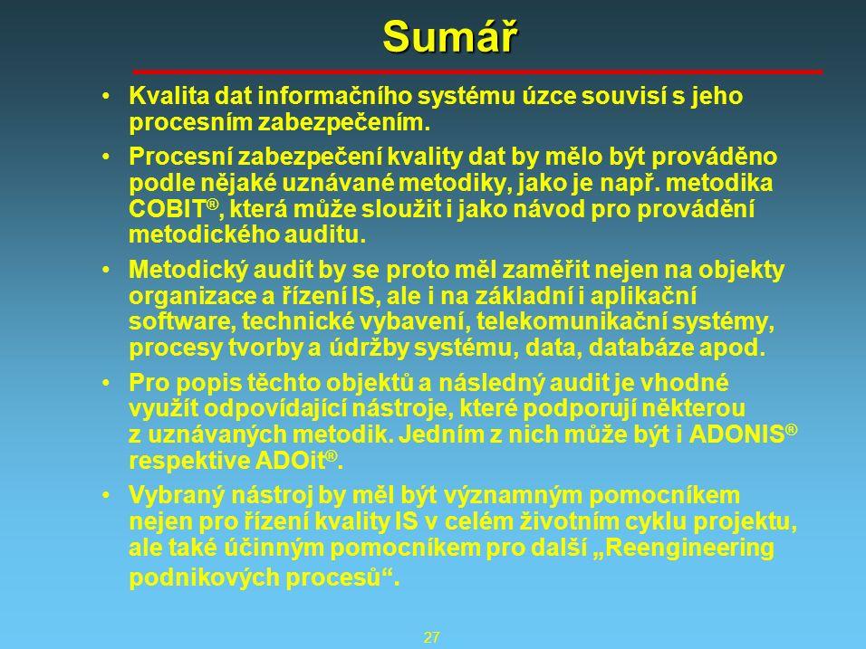 27 Sumář Kvalita dat informačního systému úzce souvisí s jeho procesním zabezpečením.